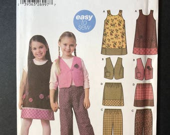 Simplicity 5489 - Easy to Sew Pattern - Girl's jumper, vest, pants and skirt sizes 3 thru 8