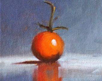 Cherry Tomato, Still Life, Oil Painting, Original 4x5, Canvas, Red Gray, Minimalist, Kitchen Wall Decor, Tiny Little Art, Small Food, Blue
