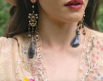 Art Nouveau Cameo Egyptian Smoked Blue Crystal Dangle Shoulder Duster Earrings