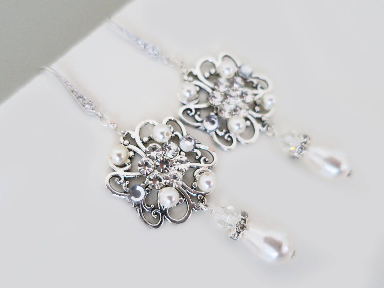 Bridal Earrings Pearl Crystal Earrings Wedding Jewelry Swarovski Earrings  Sterling Silver Bridesmaid Jewelry Dangle Drop Earrings Wedding