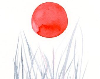 "Original minimalist watercolor painting: ""Orange Moon"""
