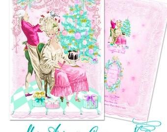 "Pink Christmas Marie Antoinette Coiffure de Noel Set of Six 5 x 7"" Folding Cards and White Shimmer Metallic Envelopes, Seals, Custom Postage"