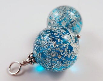 Blue Murano Glass Earrings, White Speckles, Interchangeable, Party Jewelry, Snowflake Effect, Evening Jewelry, Round