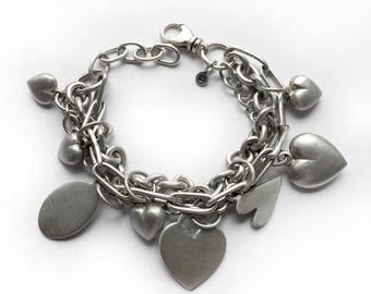 Multi-chain Sterling Silver Heart Charm Bracelet Vintage Recycled Silver