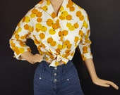 Oranges Blouse By Jo Collins - Late 1950s Early 1960s - Novelty Print Deadstock NOS