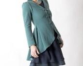 Aqua green wool jacket, Green swallowtail jacket, Green soft womens steampunk jacket, Aqua green fitted jacket, Womens clothing, MALAM