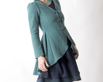 Aqua green wool jacket, Green swallowtail jacket, Green soft womens steampunk jacket, Aqua green fitted jacket, Womens clothing, MALAM
