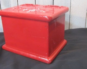 Receipe Box Red Vintage Wooden Farmhouse Cabin French Country Holiday