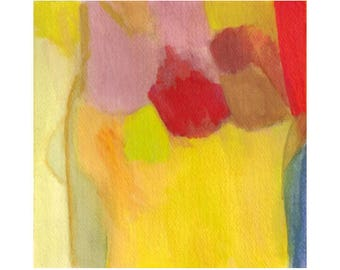 Dream of Flying - Original Signed Abstract Painting, Gouache, image 6 x 6 inches with 1/2-inch border, deckled edge