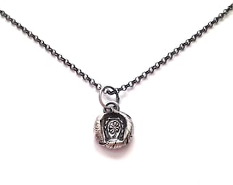 Forever Good Luck - Rustic Horseshoe and Four Leaf Clover Necklace Fine Silver