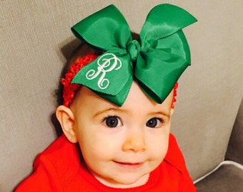 Green Monogram, Hair Bows, Large Initial, Letter Embroidered, St. Patricks Day, Stitched Custom, Embroidery Formal, Emerald Green, Toddler