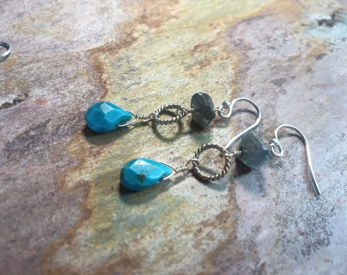 Labradorite and Turquoise Earrings with Sterling Silver