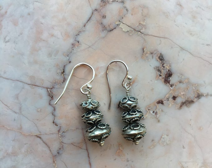 Stacked Bali Silver Bead Earrings