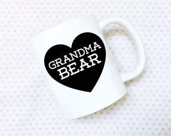 Grandma Bear Ceramic Coffee Mug - 11oz - microwave and dishwasher safe - Baby Shower Gift, New Parents, Mother's Day, Grandparents, Granny