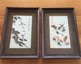 Vintage Shell Art. Real Seashell Pictures, Framed Pair. Japanese Wall Art, Shadowbox Diorama. Birds / Cranes, Goldfish, Asian Scenes.