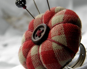 Red Check Pincushion Ring