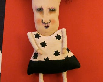 weird art doll-  Sandy Mastroni , ooak- Sweetheart Sally--  odd doll, black and white