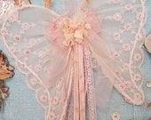 Petal Pink Angel Wings - Stitched Vintage Tattered Pink Fabric Shabby Chic Christmas Wire Wings
