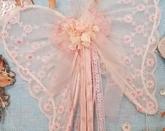Petal Pink Angel Wings - Vintage Shabby Chic Pink Christmas Wings