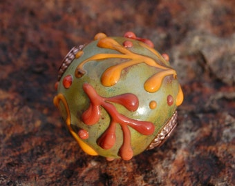 Thankful -  Cored 'n Capped K O Lampwork Big Hole European Style Focal Bead