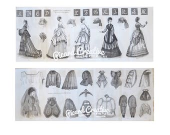 """Victorian Fashion Plate From 1870 Godey's Lady's Book Plate 23"""" x 9"""" Double Sided Women's Costumes Children's Fashions"""