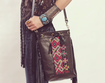 Boho Black Crossbody, Black Fringe Boho Bag, Gypsy Boho Bag, Boho Chic Bag, Leather Fringe Bag. Moroccan Bag. Kilim Bag. Ready to Ship