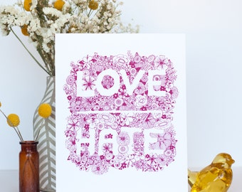 love over hate art print for charity