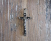 Large Beautiful Priest Nun Pectoral Crucifix Ebony Silver Plate with Skull & Crossbones