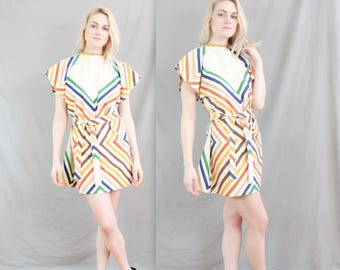 1970's Triangle Dress in Medium . Rainbow Striped Hippy Dress . Handmade . Zig Zag . Woodstock Festival Dress . West Coast . Symmetrical