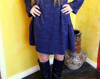 SALE Blue Sweater Dress Tunic Large