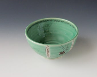 Ceramic Coca Bowl - green porcelain clay dish with coca flower, leaves and money decal - wheel thrown handmade pottery