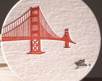 Letterpress coasters, Golden Gate Bridge, set of 6