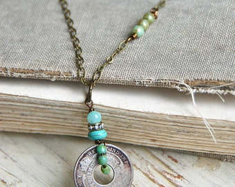 Vintage coin necklace,bohemian coin necklace,long layering necklace, festival necklace. Tiedupmemories