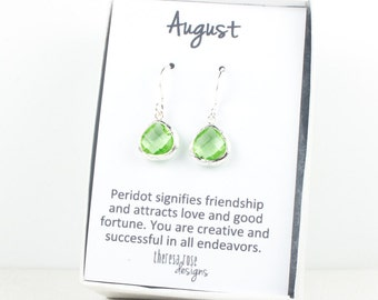 Tiny August Birthstone Peridot Green Silver Earrings, August Birthstone Gold Earrings, Peridot Sterling Silver Earrings, Bridesmaid Earrings