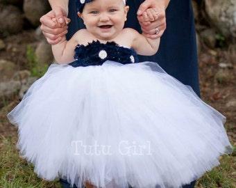 Navy and White Tutu Dress, Navy Blue Flower Girl Dress, Navy White Baby Tutu Dress, Flower Girl Tutu Dress, Nautical Tutu Dress