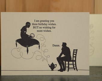 Genie - letterpress birthday card