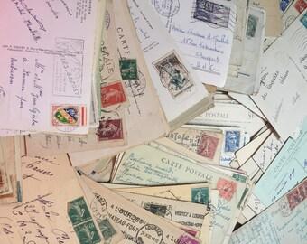 Postcards Post Cards Paris France w Stamps Antique 1900-1950  15 PC Collection