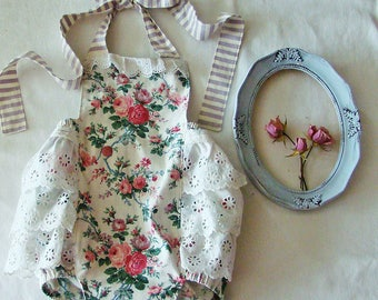 Vintage Rose Ruffle Romper for Baby Girl to Toddler