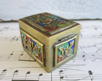 Little Vintage Chinese Brass and Enamel Stamp or Trinket Box