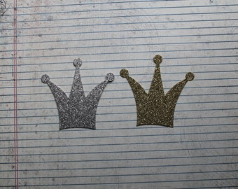 """3 of these tall 3 point crown die cuts silver or gold glitter  3"""" long x 2 7/8"""" tall"""