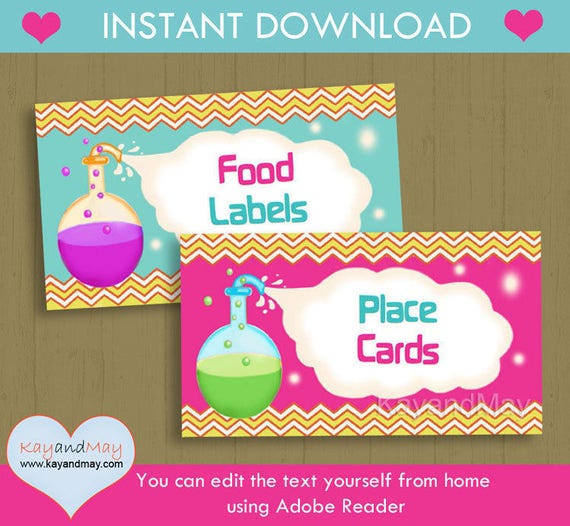 Science Party Food Labels / INSTANT DOWNLOAD P-54 Birthday