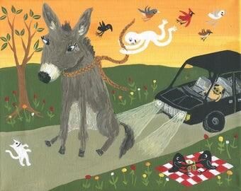 Original Donkey & Cat Art Painting - 'Let Go' w/ Pug Dog and Crow Having a Beer Picnic Folk Artwork - Quirky Strange Outsider Artwork