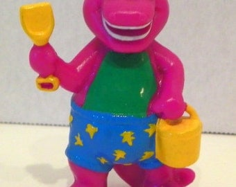 """Vintage BARNEY Toy Figure Dressed for the BEACH with Bucket & Shovel 2.5"""""""