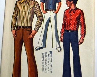 Sewing Pattern Simplicity 6902 Boys' Shirt and Bell Bottom Pants Size 10 Chest 28 inches Complete