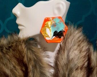 Neon Orange - MEDIUM Marble Earart (Neon Orange, Gold, White, Mint Green)