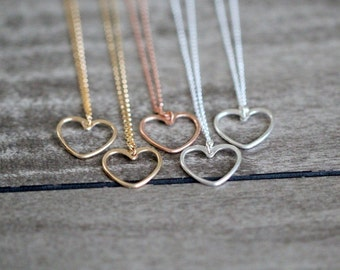 Heart Pendant Necklace , Gold , Rose Gold , Sterling Silver Hammered Minimalist , Valentines Day Gifts - Sweetheart