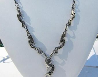 Native American Ervin Hoskie - Navajo - Southwestern Sterling Silver Multi Kokopelli Figure Y Necklace     1213