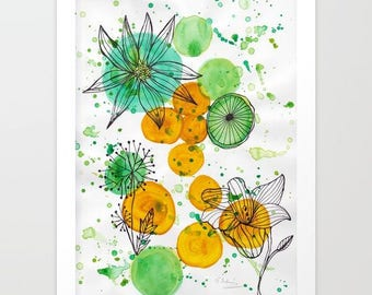 mixed media fine art print- home decor- wall art- wall decor- green and yellow- flowers- black ink and watercolors- modern watercolor art