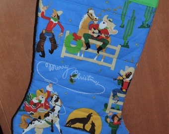 Oversized Quilted Christmas Stocking Merry Christmas Cowboys Free Personalization