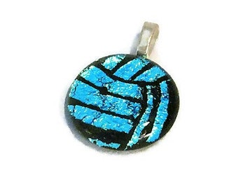 Volleyball Gift, Volleyball Necklace, Water Polo Necklace, Volleyball Jewelry, Water Polo Jewelry, Dichroic Fused Glass Jewelry, Blue Ball